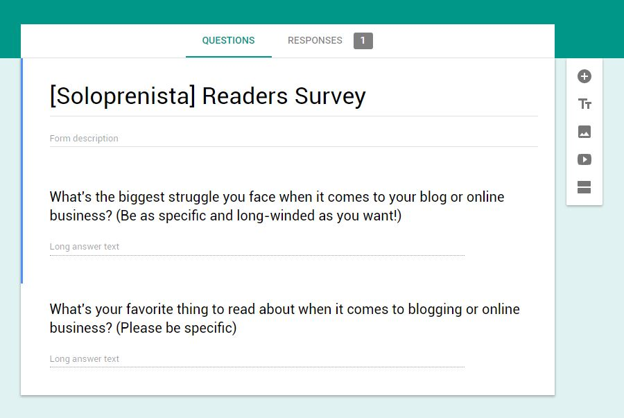 Set up a Google form to survey readers on what blog topics they want to read about.